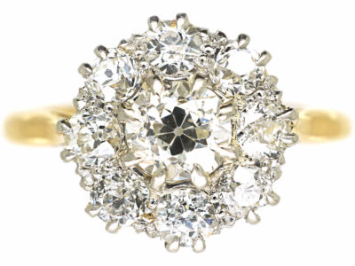 18ct Gold & Platinum Diamond Cluster Ring