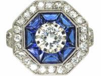 French Platinum Sapphire & Diamond Octagonal Ring