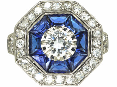 French Platinum Sapphire & Diamond Octagonal Ring