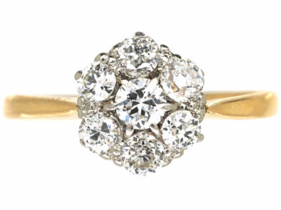 Edwardian 18ct Gold & Platinum, Diamond Cluster Ring