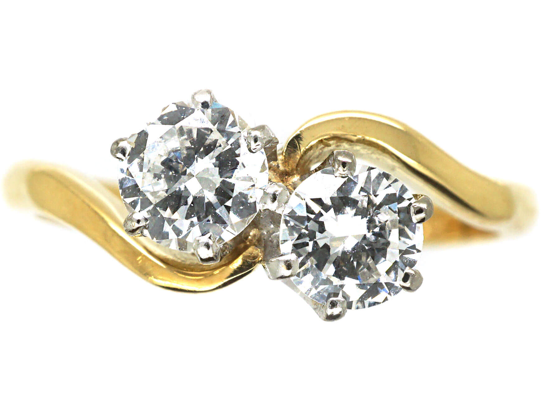 18ct Gold Two Stone Diamond Crossover Ring