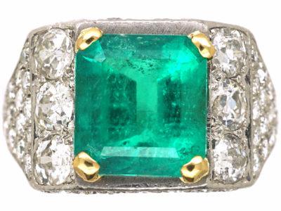 Retro Platinum & 18ct Gold, Emerald & Diamond Ring