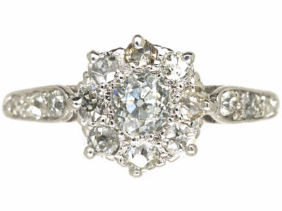 Edwardian 18ct White Gold & Platinum, Diamond Cluster Ring with Diamond set Shoulders