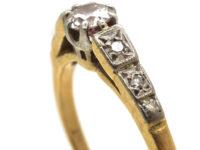 Art Deco 18ct Gold & Platinum, Diamond Solitaire Ring with Diamond Set Shoulders