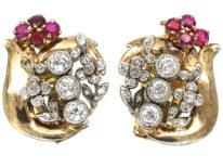 Retro 18ct White & Yellow Gold, Ruby & Diamond Clip On Earrings