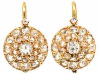 Edwardian 18ct Gold Diamond Cluster Earrings