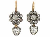 Georgian Old Mine Cut Cluster Earrings with Heart Shaped Diamond Drops