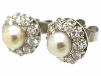 18ct White Gold, Pearl & Diamond Cluster Earrings
