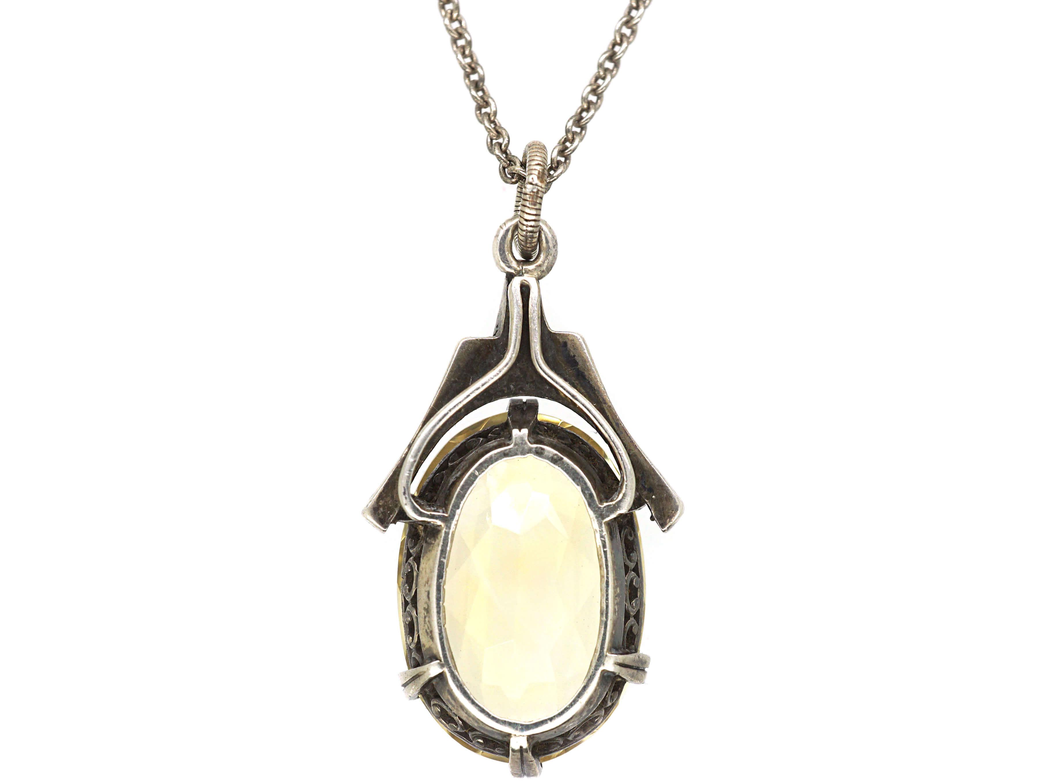 Art Deco Silver, Marcasite & Citrine Pendant on a Silver Chain