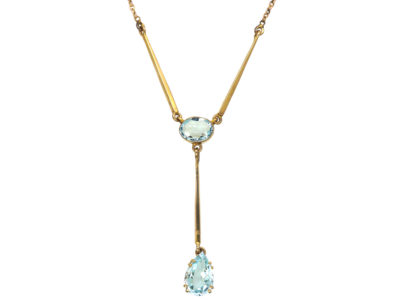 Art Deco 9ct Gold & Aquamarine Necklace