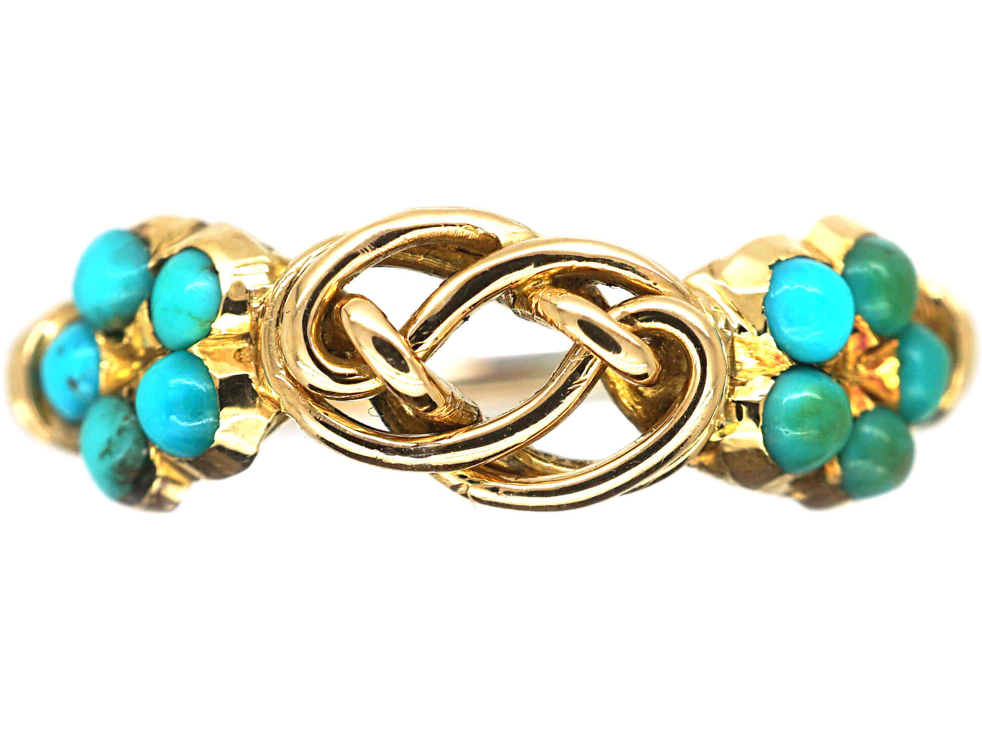 Late Georgian 15ct Gold Forget Me Not & Gold Knot Ring