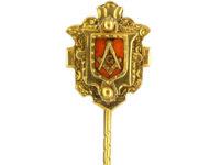 Victorian 15ct Gold & Enamel Masonic Tie Pin