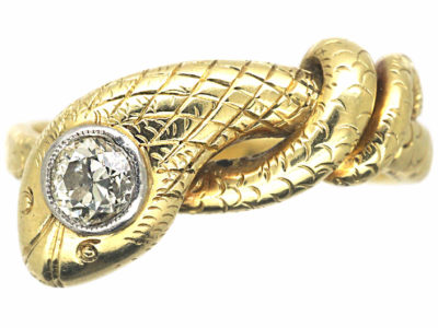 Edwardian 14ct Gold & Platinum Snake Ring set with a Diamond