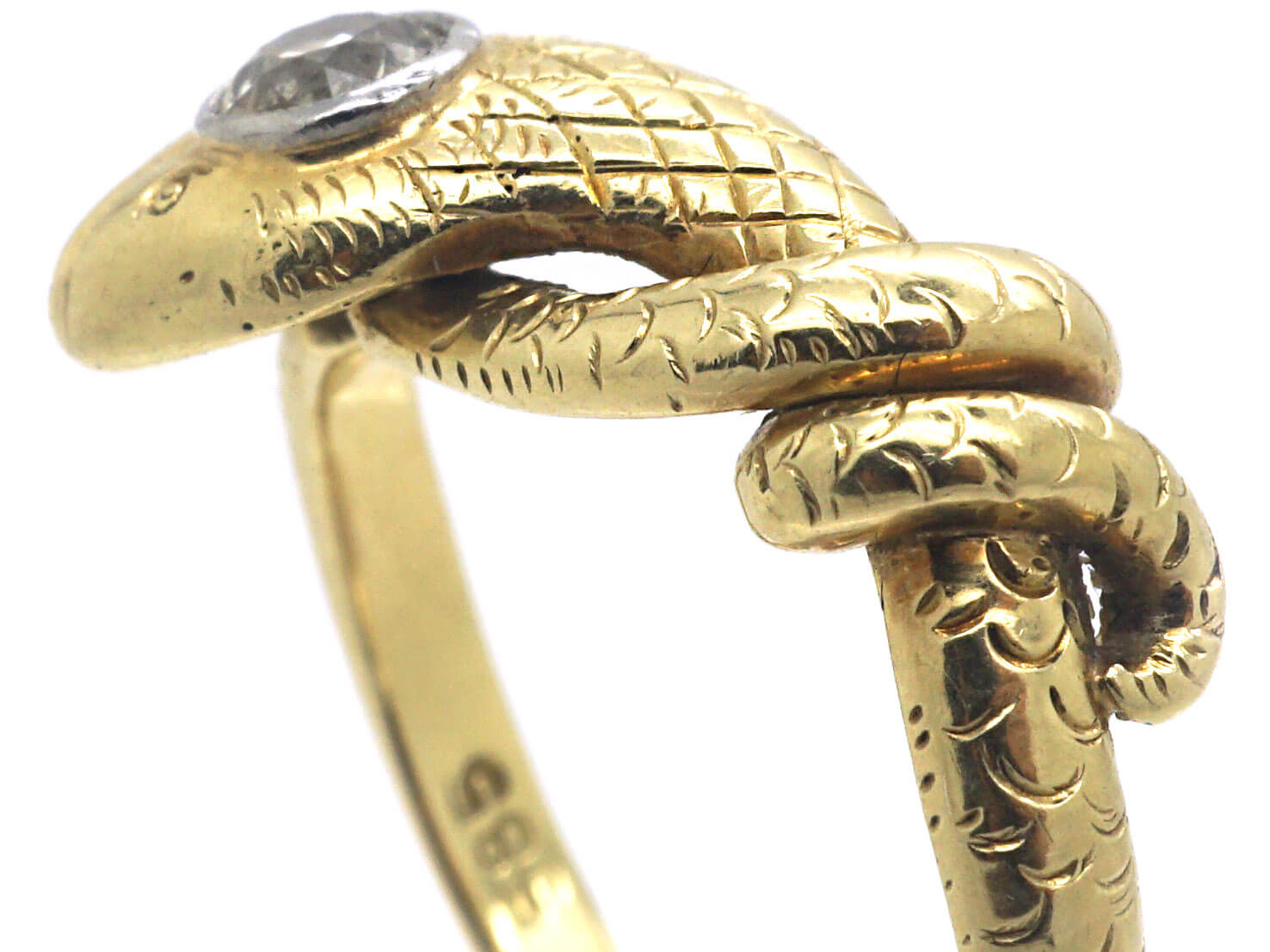 Edwardian 14ct Gold & Platinum Snake Ring set with a Diamond