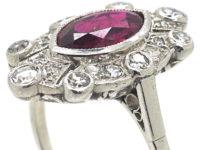 Art Deco Platinum, Marquise Cut Ruby & Diamond Ring