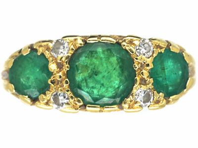 18ct Gold Three Stone Emerald & Diamond Ring