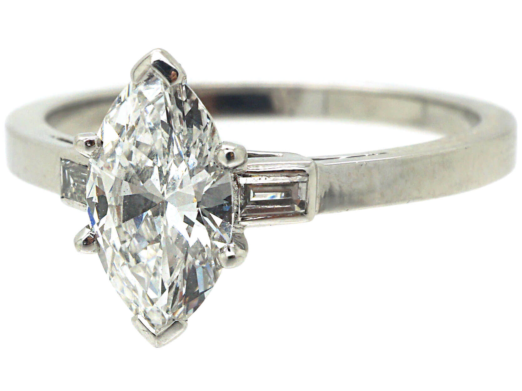French Platinum, Marquise Diamond Ring with Baguette Diamond set Shoulders