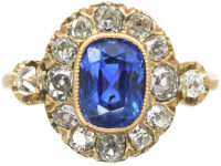 Edwardian 18ct Gold Sapphire & Diamond Cluster Ring with Diamond Set Shoulders