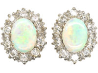 18ct White & Yellow Gold, Opal & Diamond Oval Cluster Earrings