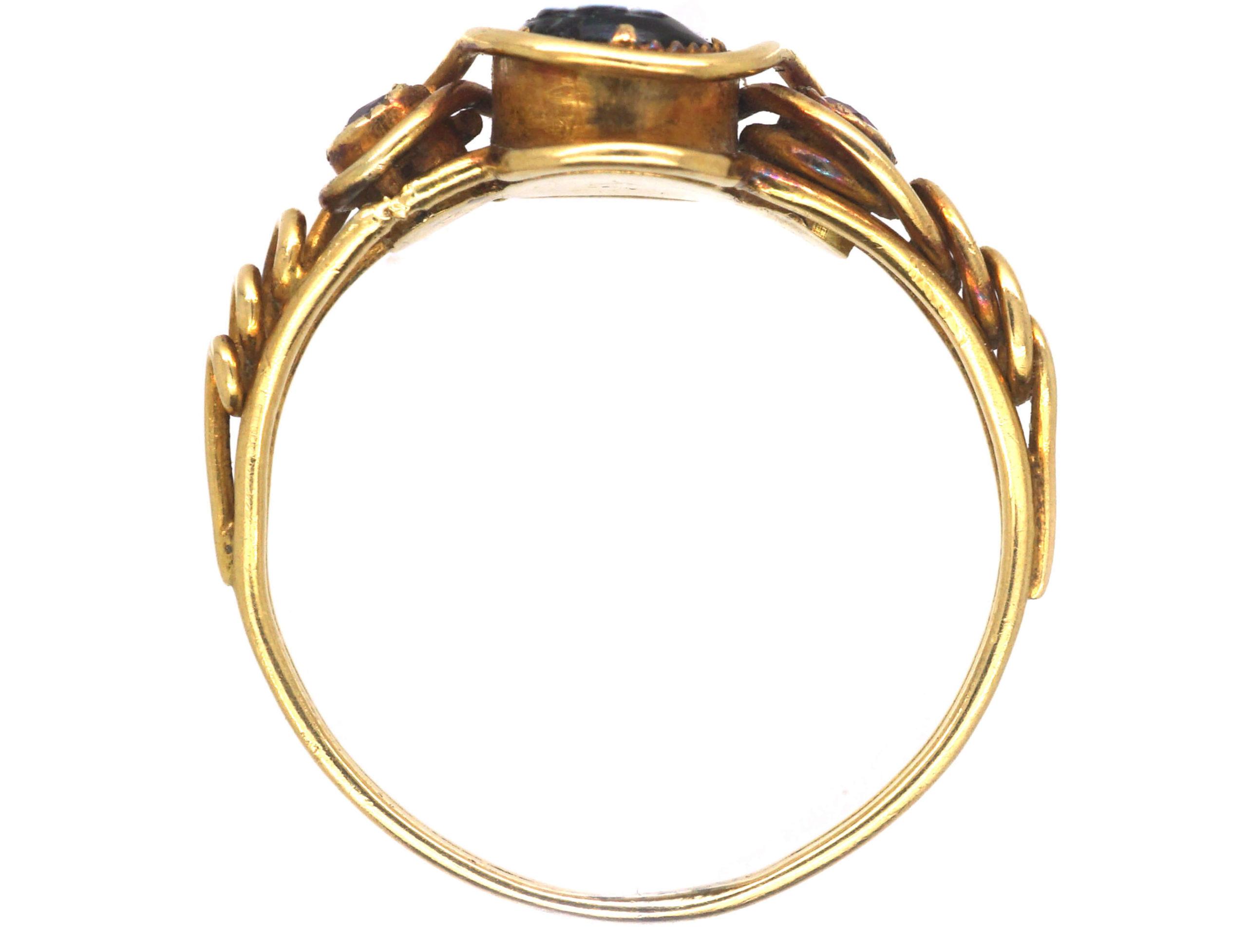 Early Victorian 15ct Gold, Ruby & Onyx Pense à Moi Ring