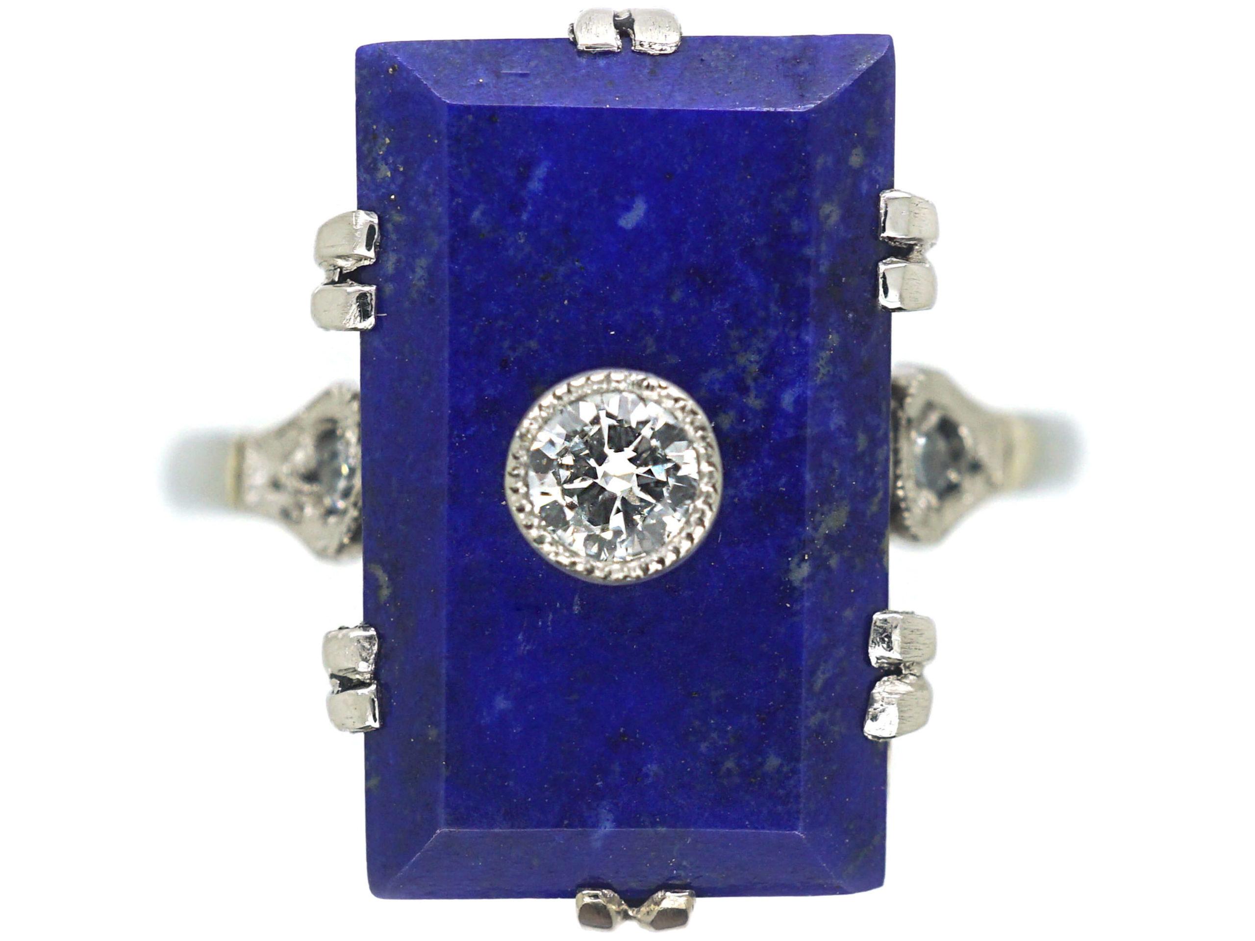 Art Deco 18ct White Gold & Platinum, Lapis Lazuli & Diamond Rectangular Shaped Ring