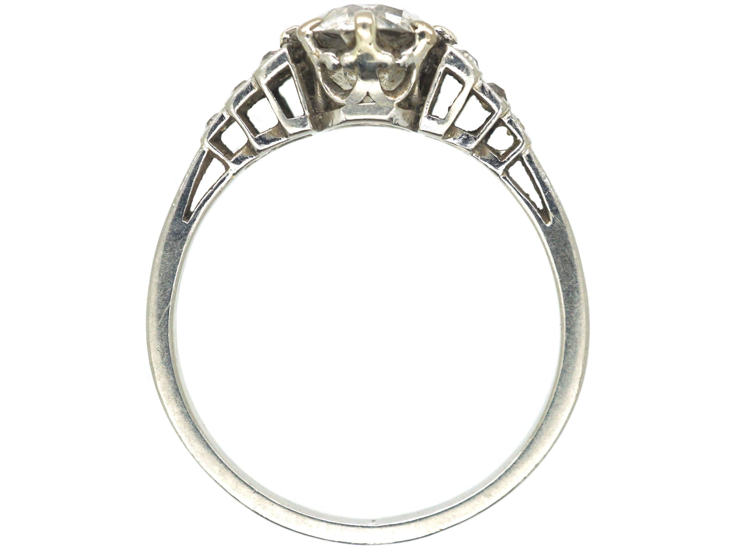 Art Deco Platinum & Diamond Solitaire Ring with Diamond Set Step Shoulders