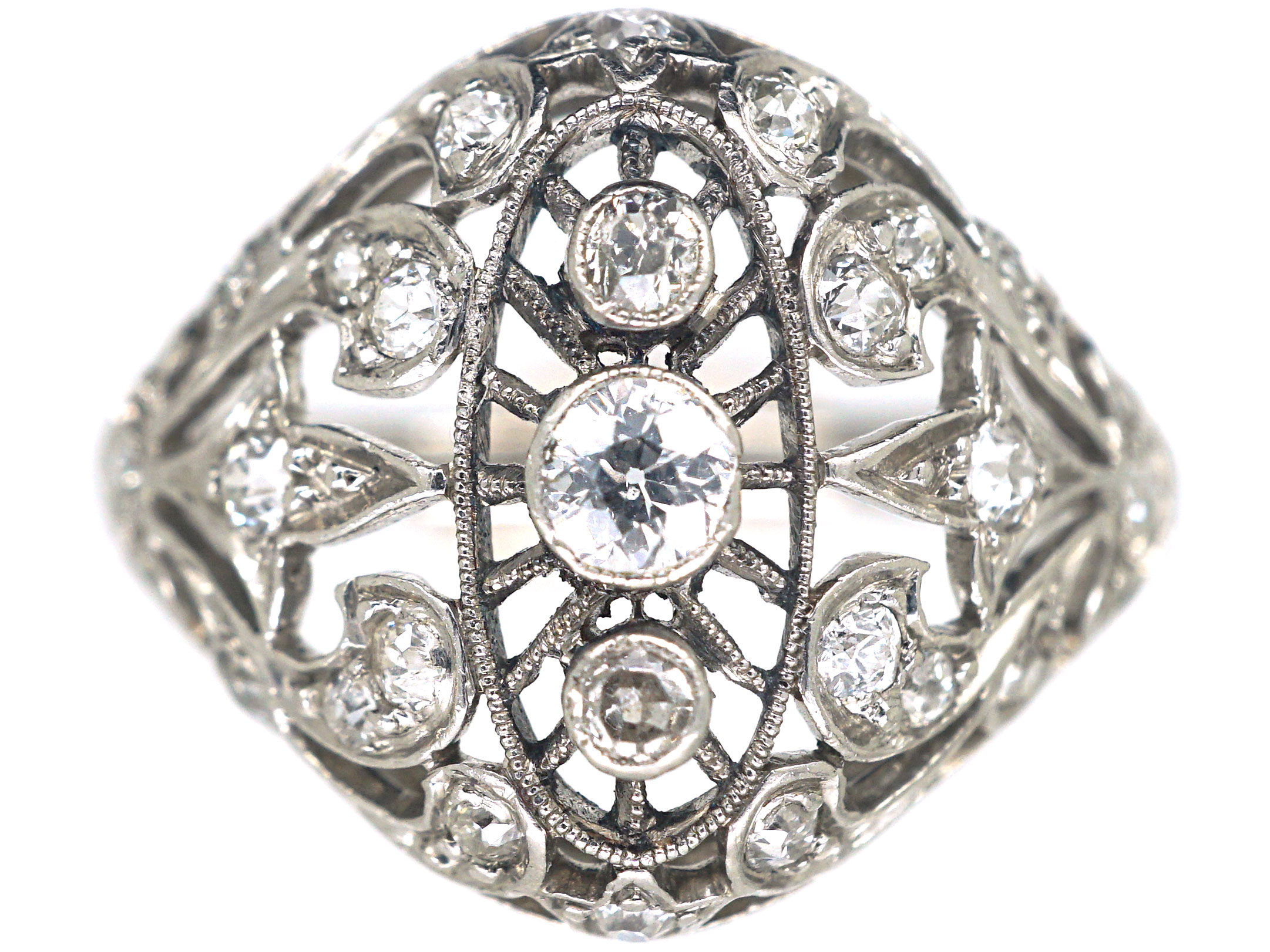 Art Deco Dome Shaped Ring set with Diamonds by Pickslay & Co