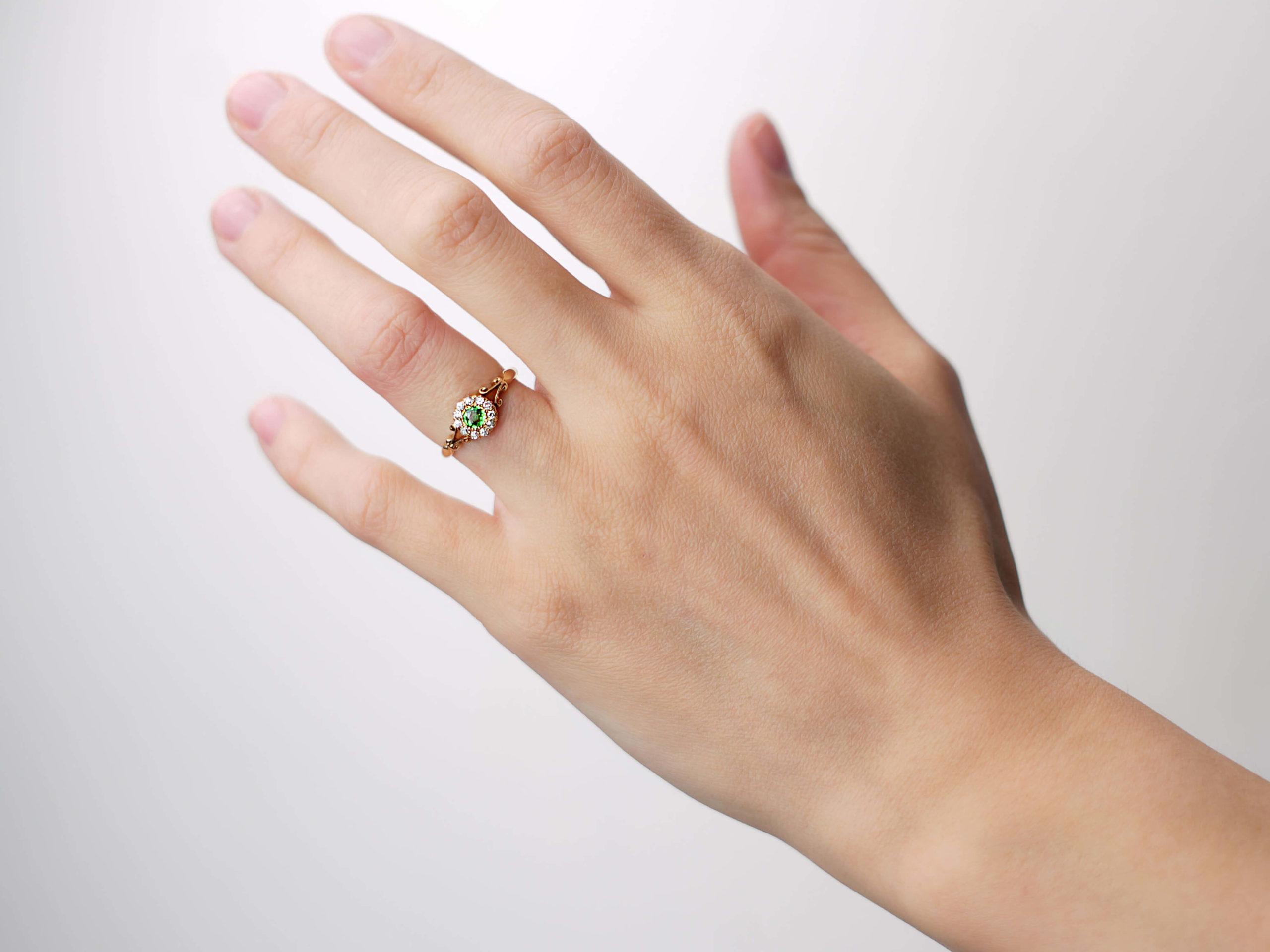 Edwardian 18ct Gold, Green Garnet & Diamond Cluster Ring