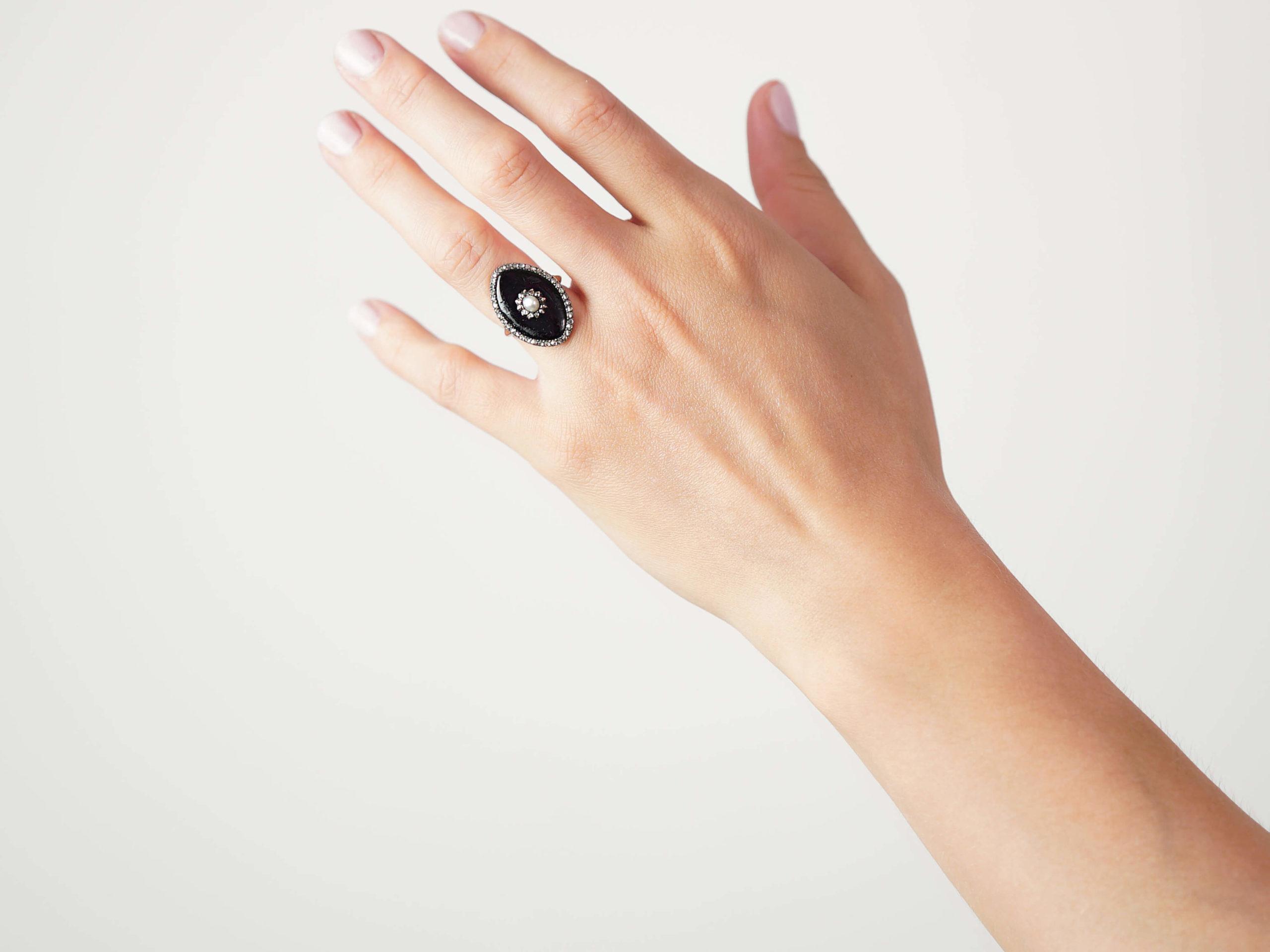 Georgian 9ct Gold, Enamel, Rose Diamond & Natural Split Pearl Navette Shaped Ring
