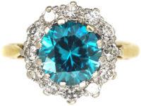Art Deco 18ct Gold & Platinum, Zircon & Diamond Cluster Ring