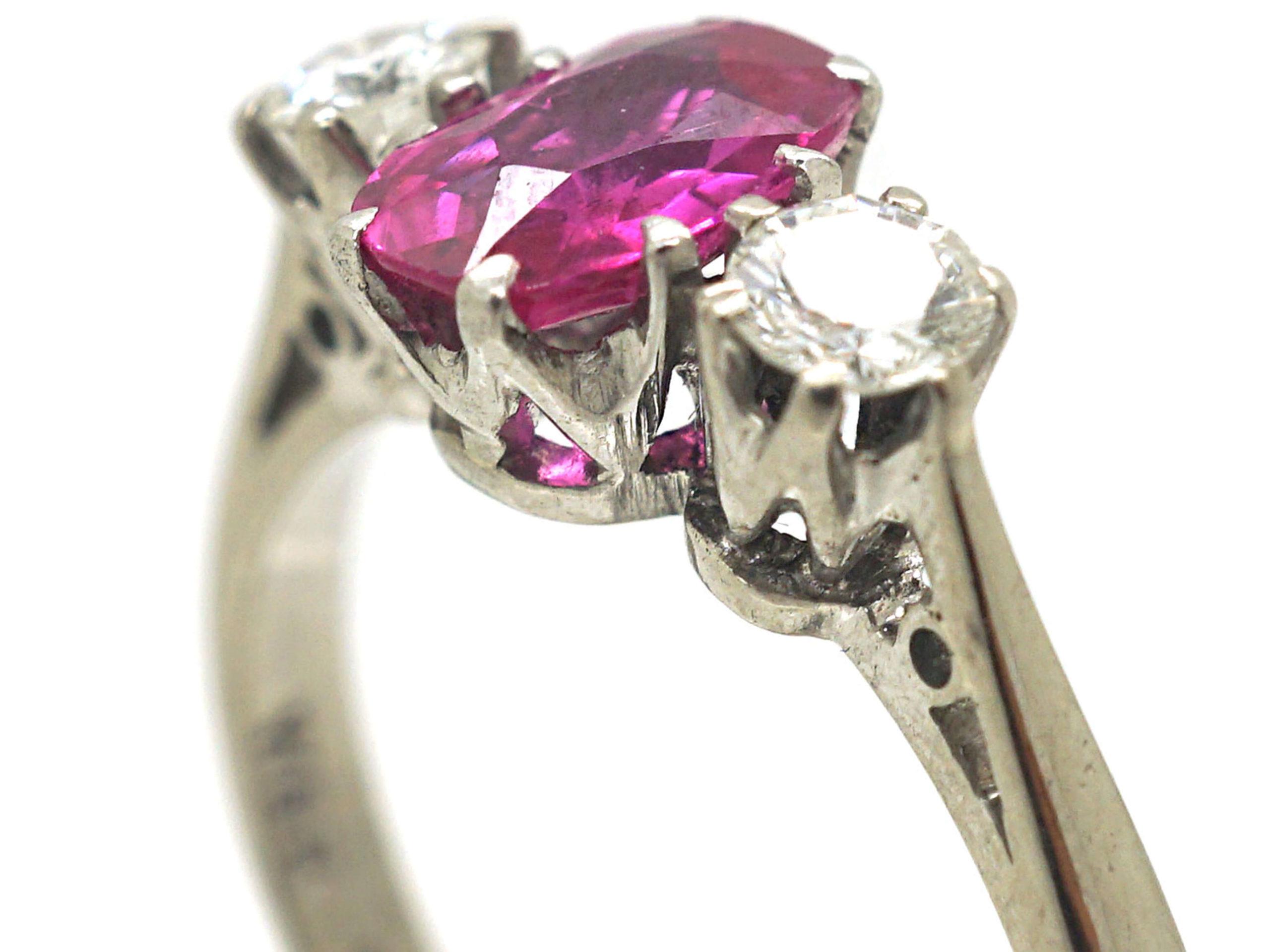 Art Deco 18ct White Gold & Platinum, Pink Sapphire & Diamond Three Stone Ring