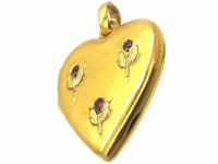 French Belle Epoque Two Colour 18ct Gold Heart Shaped Locket set with Rubies
