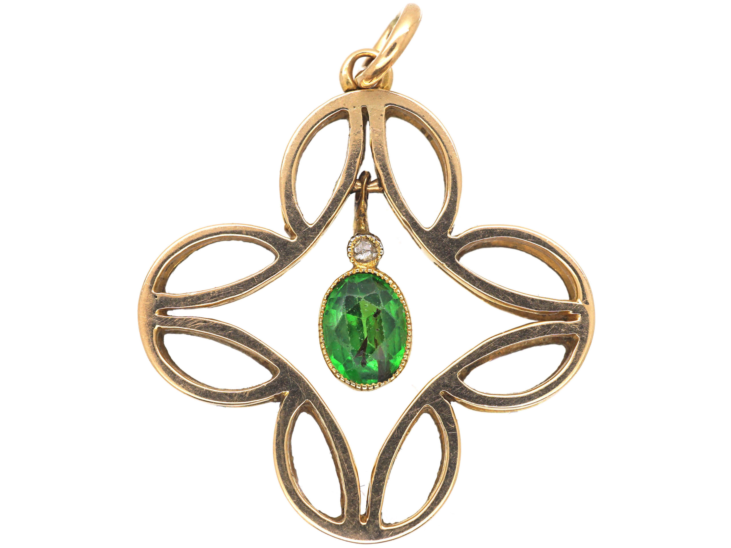 Edwardian 15ct Gold, Diamond & Green Garnet Pendant