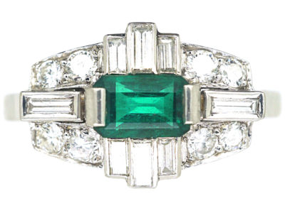 Art Deco Style 18ct White Gold, Emerald & Diamond Ring