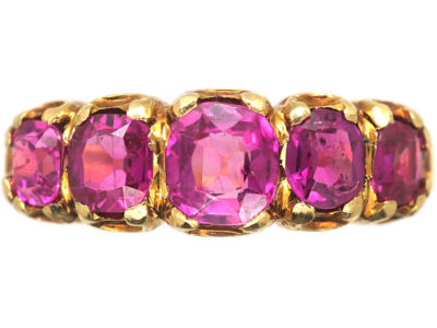 Victorian 18ct Gold & Pink Sapphire Five Stone Ring