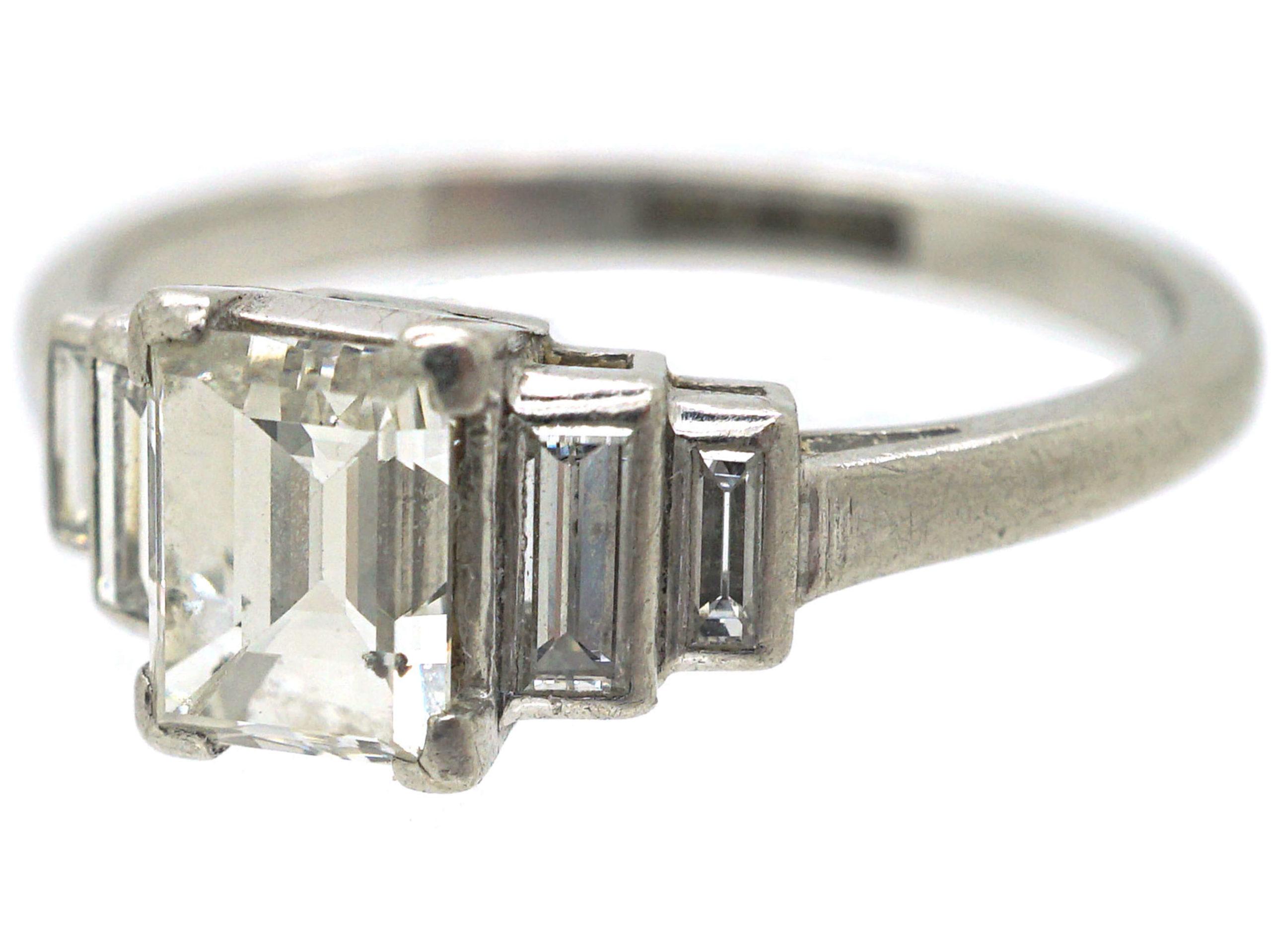 Art Deco Platinum Five Stone Baguette Diamond Ring