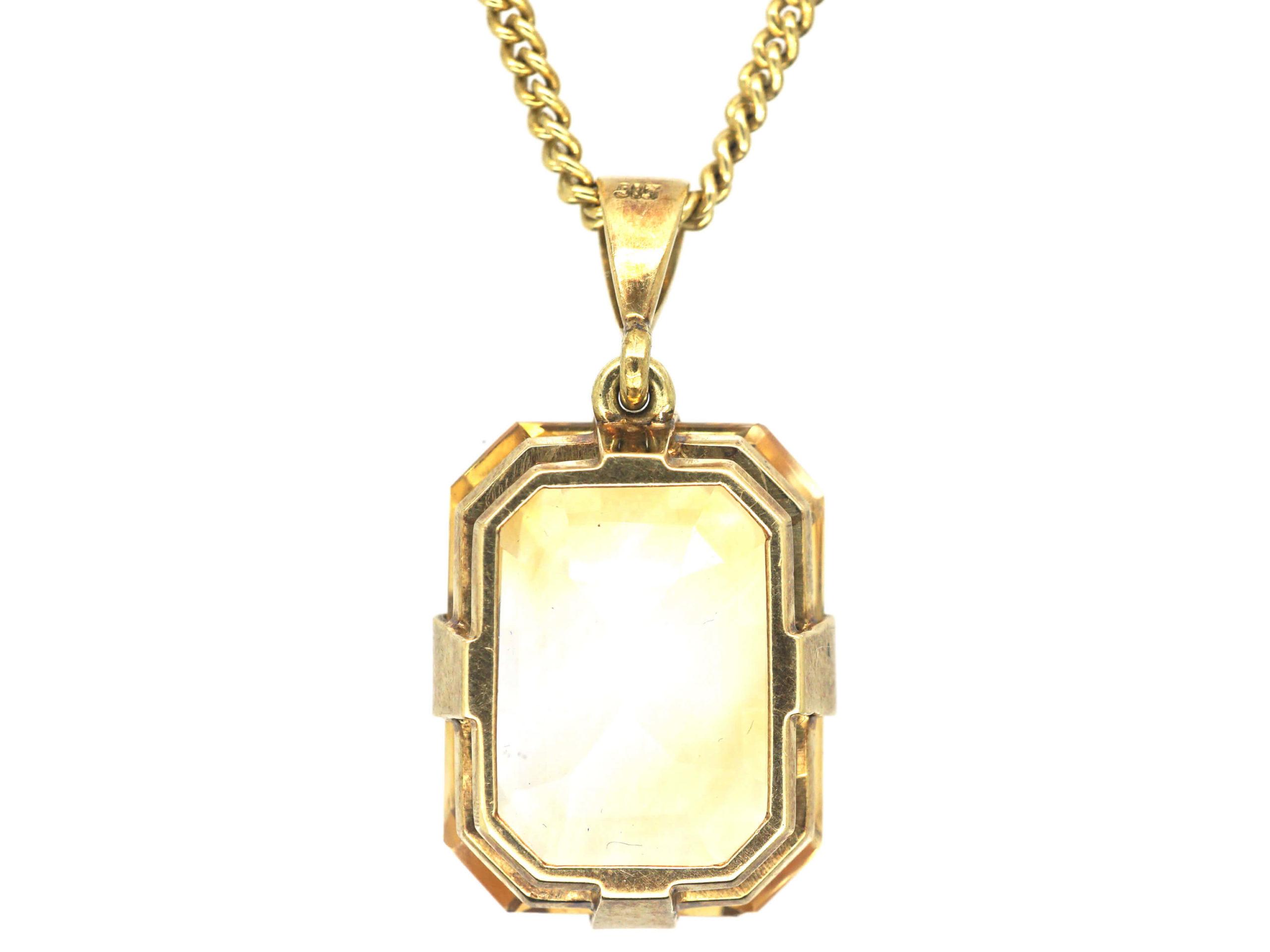 Art Deco 14ct Gold & Citrine Pendant on Silver Gilt Chain