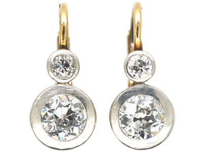 Art Deco Two Stone Diamond Earrings