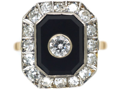 Art Deco 18ct Gold & Platinum, Onyx & Diamond Octagonal Shaped Ring