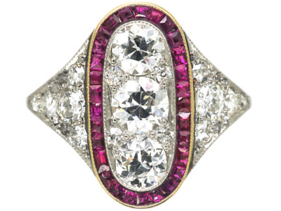 Art Deco Platinum, Ruby & Diamond Oval Shaped Ring