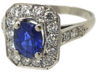 French Art Deco Platinum, Sapphire & Diamond Rectangular Shaped Ring