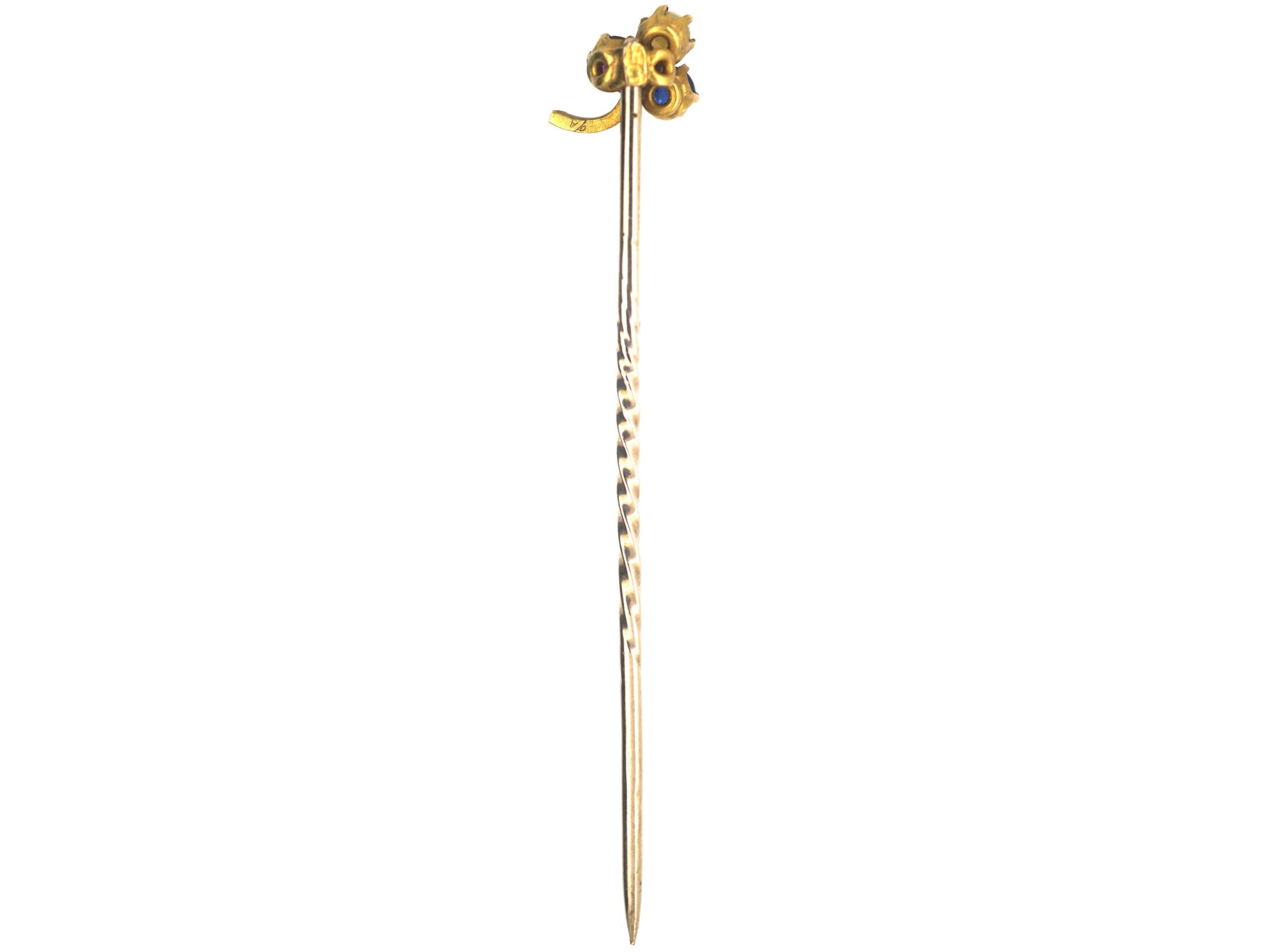Edwardian 15ct Gold Sapphire, Ruby & Natural Split Pearl Shamrock Tie Pin