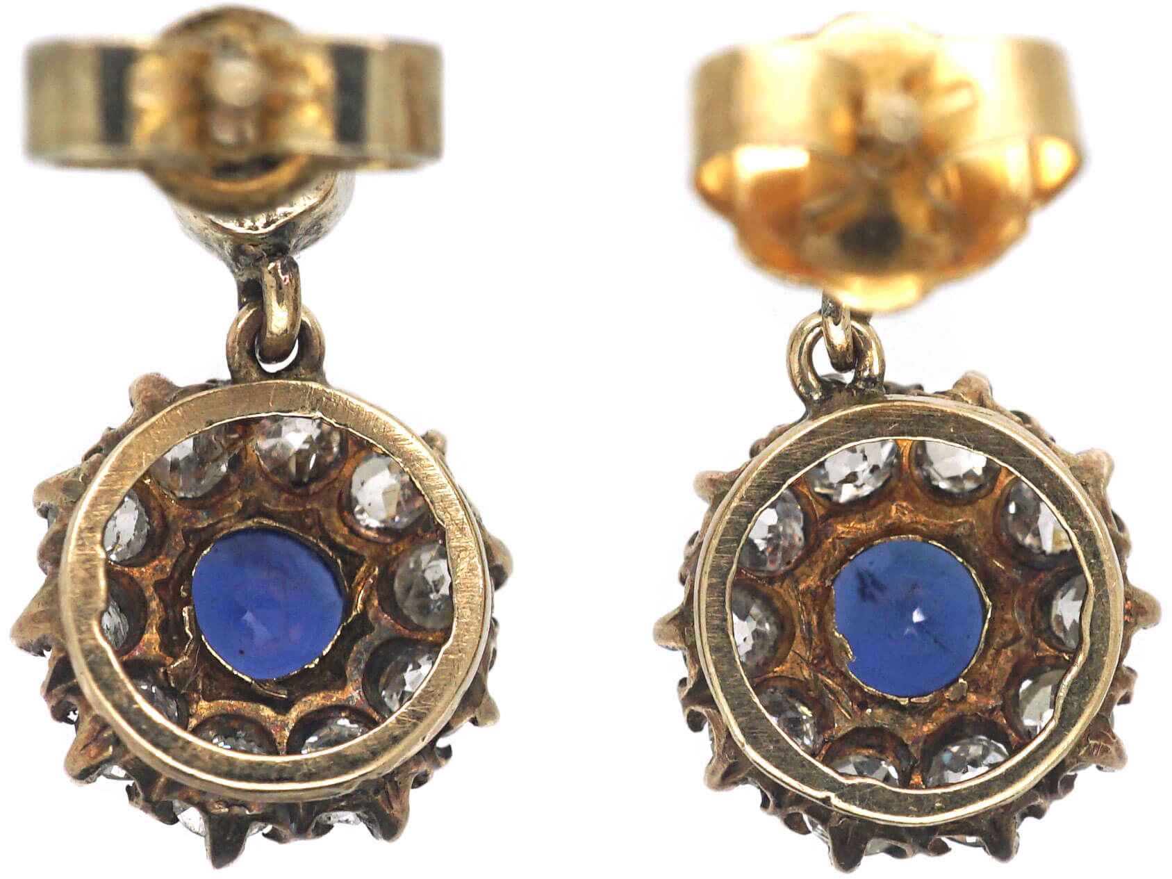 Edwardian Sapphire & Diamond Cluster Drop Earrings