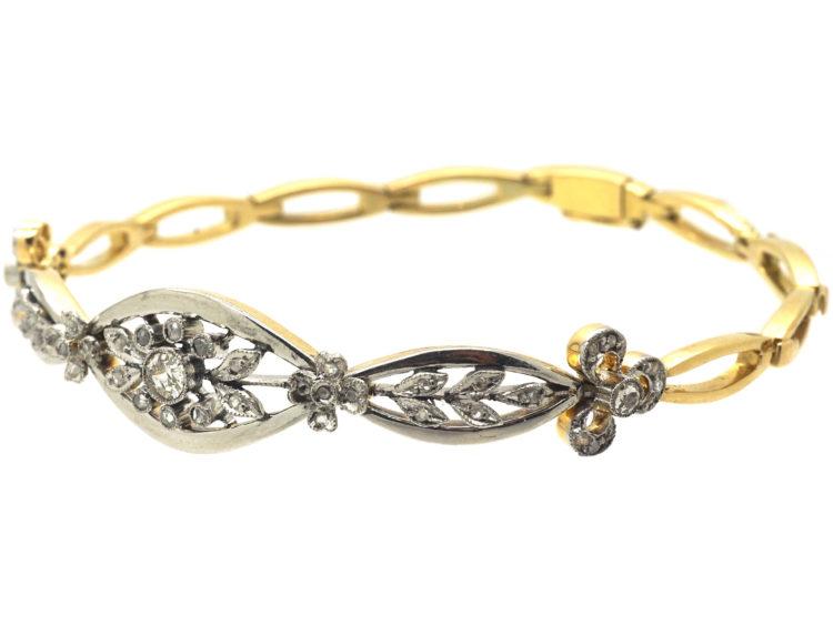 French Belle Epoque 18ct Gold, Platinum & Diamond Bracelet