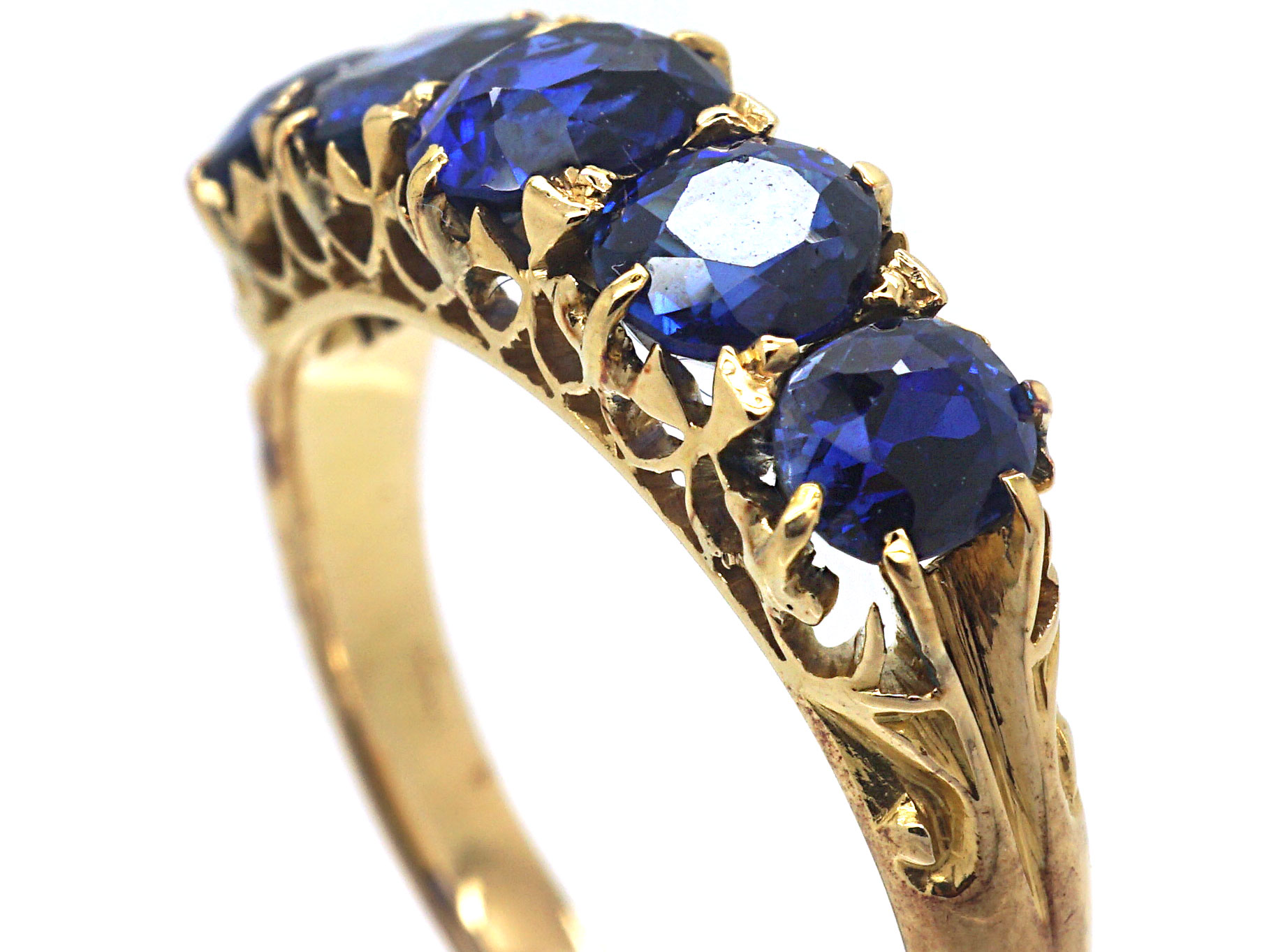Victorian 18ct Gold Five Stone Sapphire Ring