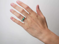 Victorian 18ct Gold, Emerald & Diamond Carved Half Hoop Ring