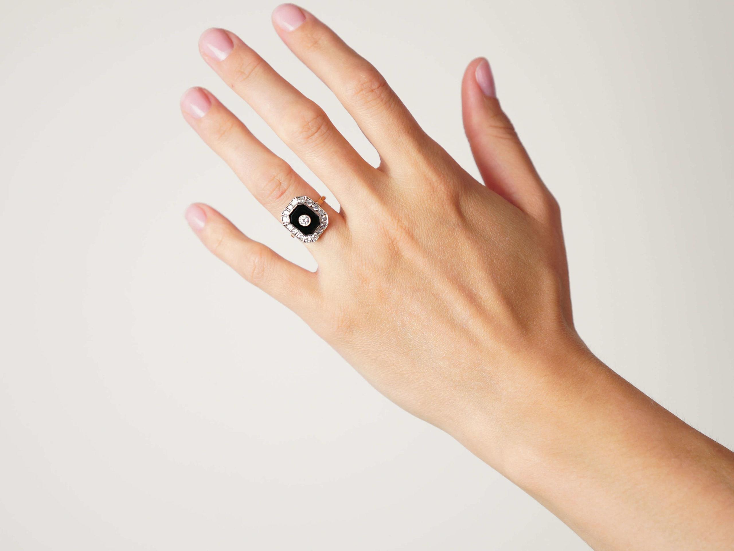 Art Deco 18ct Gold & Platinum, Onyx & Diamond Octagonal Shaped Ring