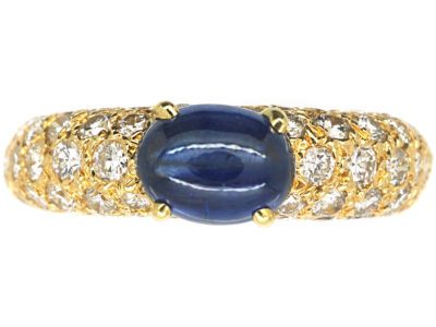 French 18ct Gold Sapphire & Diamond Ring by Cartier