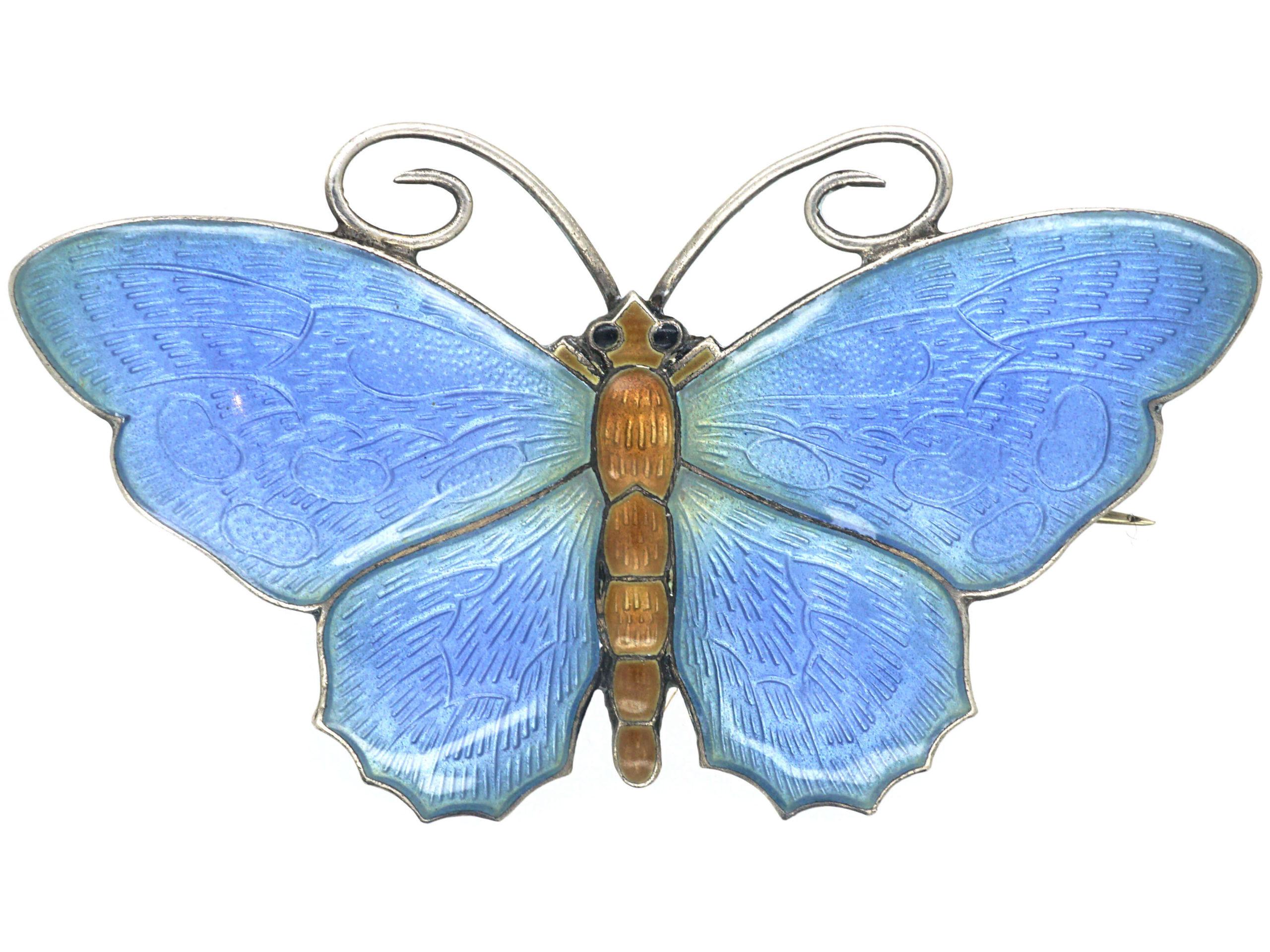 Silver & Blue Enamel Butterfly Brooch