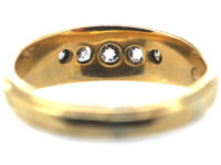 Victorian 18ct Gold Boat Shaped Five Stone Diamond Ring